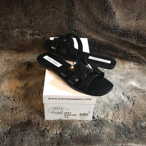 8248eb19d3c Steve Madden Sicily black leather slide sandals.